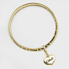 Love Heart Charm Bangle Bracelet Always GOLD Inspirational Quote Message Jewelry