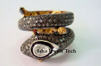 Fine Jewelry Natural Rose cut Diamond Polki Gold Sterling Silver Ring Jewelry