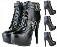 Women's Platform 15cm High Heel Ankle Boots Buckle  Back Zip Knight Booties Punk