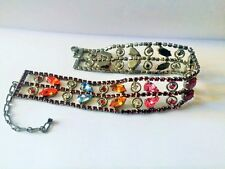 Ladies siam / red,silver plated,multi gem choker with  crystal stones.