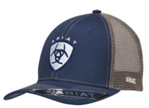 Ariat Western Baseball Hat Cap Mens Mesh Shield Snap Back Logo Navy Blue 1595303