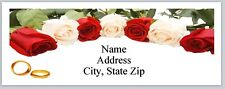 Personalized Address Labels Wedding White Red Roses Rings Buy3 get1 free (P 373)