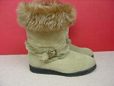 Women's Tan Suede Leather Faux Fur Lined Boots Size 8
