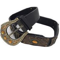 Western Studded Embellished Brown Vegan Leather Belt Sz M Horseshoe Buckle