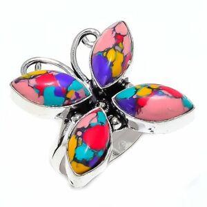 Mosaic Balloon Jasper Handmade Silver Fashion Jewelry Ring Size 8.5 SR3573