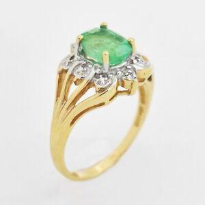 14k Yellow & White Gold Estate Emerald/Diamond Ring Size 6