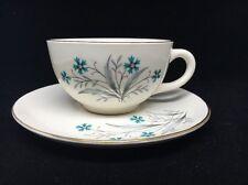 Vintage mid-century modern silver grey blue flowers pink berries cup & saucer