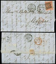 Gb Qv 1865 Scotland 4d Sg81 Bk + Letter to Cognac.Glasgow 5K Larger Circle