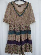 16 Miss Selfridge Prairie 70s Vestido Blusón popular Algodón Floral Beige Azul Púrpura
