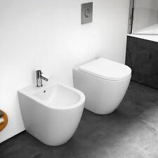 Sanitari filomuro in ceramica Serie Volga vaso + bidet + copri wc Soft Close