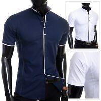 D&R Men's Elegant Short Sleeve Shirt Smart Grandad Collar Snaps Cotton UK BRAND
