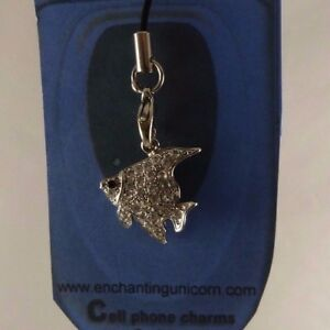 Fish Austrian clear Crystal cell phone charm Bling