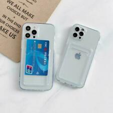 Clear Case With Card Slot Holder For iPhone 12 11 Pro Max Mini XS XR X Max