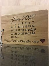 Personalised Real Wood Calendar Keyring Fathers Day /day you became my Dad