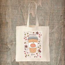 Pumpkin Spice Tote Bag -  Cute Autumn Fall Halloween Coffee Cotton Canvas Tote