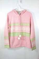 TIMBERLEA Pink Green Sweater 1/4 zip pullover with hood Acrylic sparkle Hoodie L