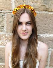 Daisy Sunflower Flower Hair Crown Headband Boho Festival Brown Yellow Tan V93