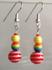 Nautical pretty earrings with striped beads made in the UK cute small gift UK
