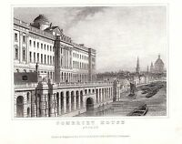 1840 VICTORIAN PRINT ~ SOMERSET HOUSE ~ LONDON RIVER THAMES BOATS