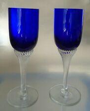 Vintage Cobalt Blue Wine Glasses From England 1970s Set of 2