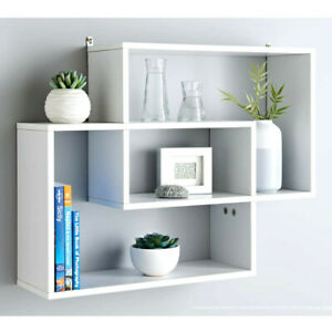 WHITE Lokken Multi Compartment Display Wall Floating Shelf Wall Decoration