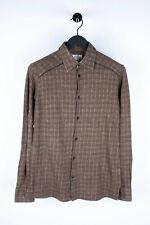 Original Hermes Men Long Sleeves Leather App Wool Blend Tweed Shirt 15 1/2 / 39