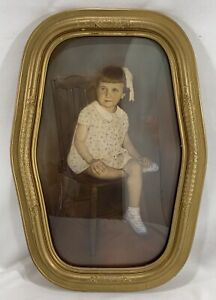 Vintage Oval Wood Gesso Picture Frame with Convex Bubble Glass SUPER NICE!