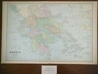 "Vintage 1903 GREECE Map 22""x14"" ~ Old Antique Original ATHENS THESSALONIKI"