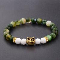Fashion Men's Owl Spot Natural Lava Stone Gold Owl 8MM Beaded Charm Bracelets