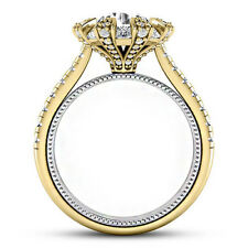 Halo 3.33 Carat SI2/F Round Cut Diamond Real Engagement Ring Yellow Gold