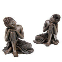 WOOD EFFECT SPIRITUAL THAI BUDDHA 14 CM HEAD ON KNEE HOME DECORATION GIFT BUD123