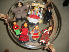 Lot of 7 vintage small dolls ethnic international