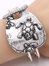 Sea Turtle Bracelet Large Hinged Cuff Silver Tone Color Ocean Beach Animal Surf