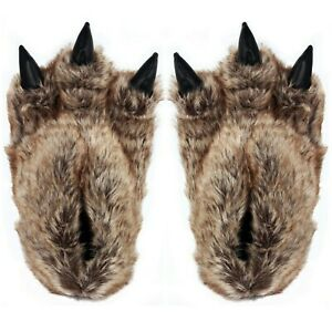 Mens CLAW MONSTER BEAR Faux Fur Slip on Slippers Size 7 8 9 10 11 mules Boot NEW