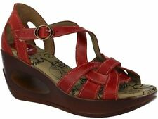 Fly london Hauk 627 Fly Red Leather Womens Wedge Sandals Shoes SIZE 8