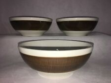 "Rorstrand KOKA BROWN 5 3/8"" Coupe SOUP CEREAL BOWLS Lot x 3 Sweden"