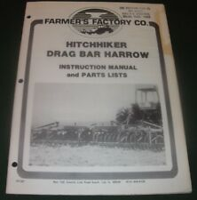 FARMERS FACTORY CO HITCHHIKER DRAG BAR HARROW PARTS OPERATION OPERATOR MANUAL