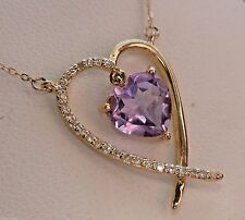 "NEW Diamond & Amethyst Heart Dangling Pendant Necklace 10K Gold- 17"" Chain"