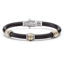 Konstantino Men's Silver Bronze and Leather Bracelet