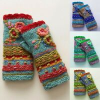 Womens Warm Casual Flower Embroidery Knit Gloves Handwarmers Fingerless Mittens