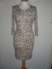NEW H&M STYLISH LEOPARD STRETCH BODYCON JERSEY DRESS UK SMALL10 SOLD OUT
