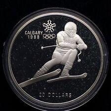 1988 CALGARY WINTER OLYMPICS CANADA 20 DOLLARS SILVER RARE 1985 SLALOM       h78