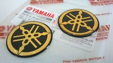 2 x YAMAHA 100% GENUINE 40mm TUNING FORK BLACK/GOLD DECAL EMBLEM STICKER BADGE