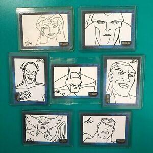 Justice League Inkworks Sketch Cards Wonder Woman Batman Superman All 7 NM