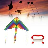 1x Rainbow Triangle Kite & 30m Kite Line Outdoor Children Fun Sports Kids Toys