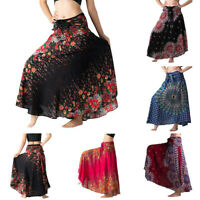 Women Long Hippie Bohemian Gypsy Boho Print Elastic Waist Floral Halter Skirt UK