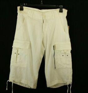 Claudio Milano Men's Shorts Cargo Linen Ivory Size 33