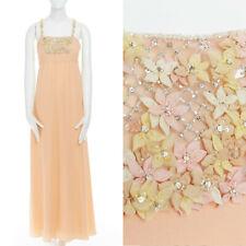 VALENTINO 100% silk pastel orange floral bead embellished strap dress gown US6