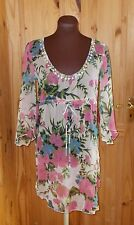 JOE BROWNS pink green floral chiffon 3/4sleeve kaftan tunic top dress BNWT 10 38