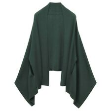 MUJI Green Wool HighGauge Knit Arm-Through CAPE Scarf Shawl Stole Muffler Poncho